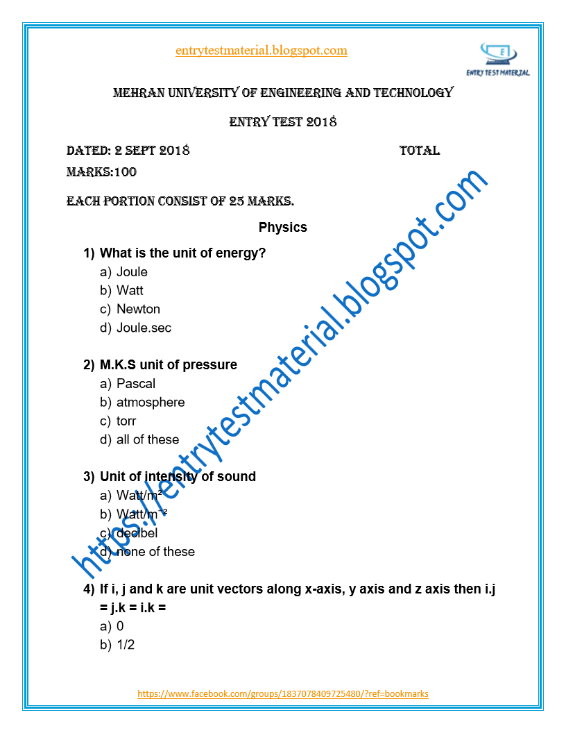Entry Test Material