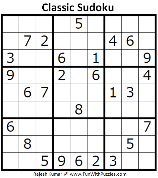 Classic Sudoku Puzzles (Fun With Sudoku #297)