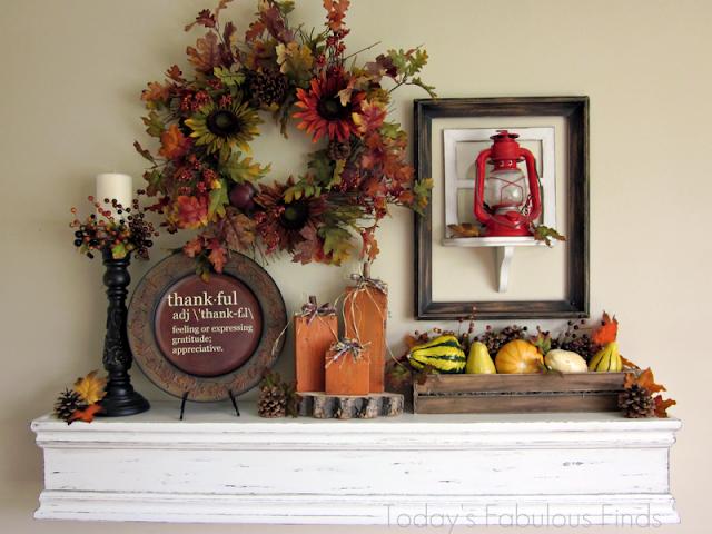 fall mantel, thanksgiving mantel