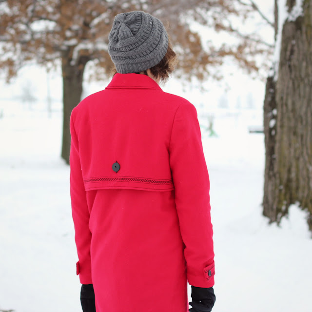 Simplicity 8451 red wool coat with decorative stitches created in the Embroidery Mode with the Pfaff Creative Icon - back overlay