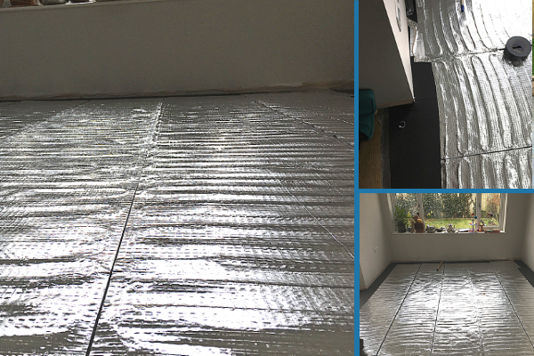 Laying the underlay and electric underfloor heating pads before laying the laminate floor