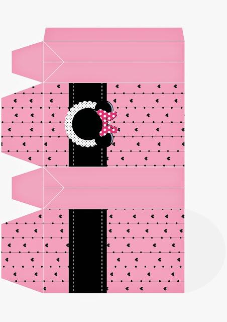 Caja para Imprimir Gratis de Minnie Mouse Rosa.