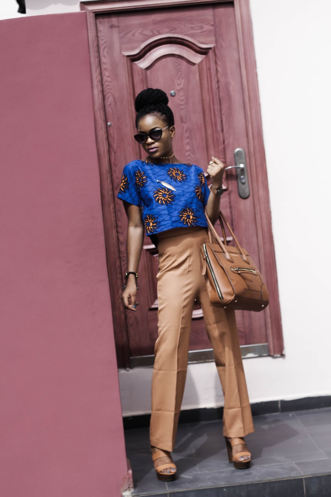 Brown/tan wide leg pant, ankara blouse,cateye glasses, gold choker, Cedar Adinfono, oncedarplanet