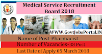 Tamil Nadu Medical Service Board Recruitment 2018 – 38 Pharmacist