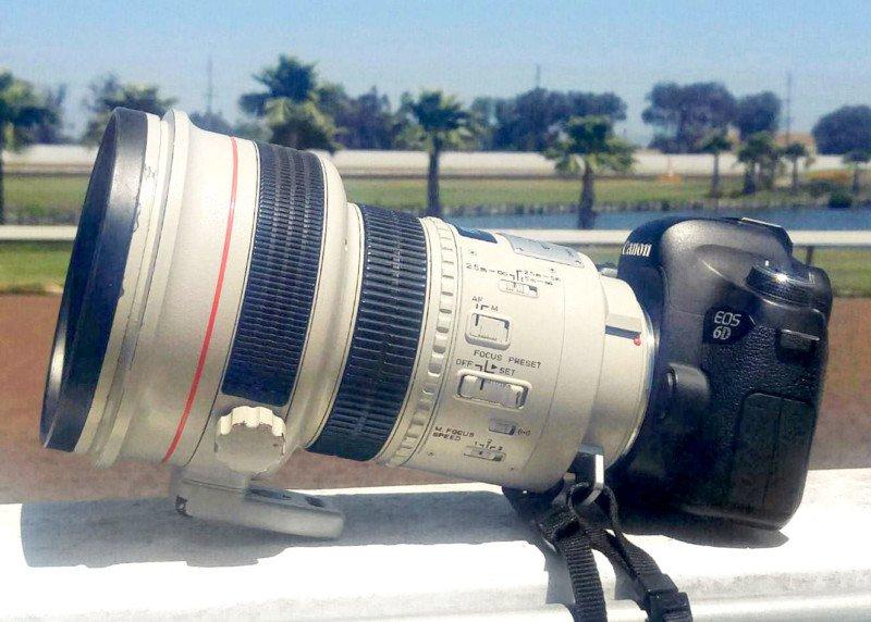 Canon EF 200mm f/1.8L с камерой Canon EOS 6D