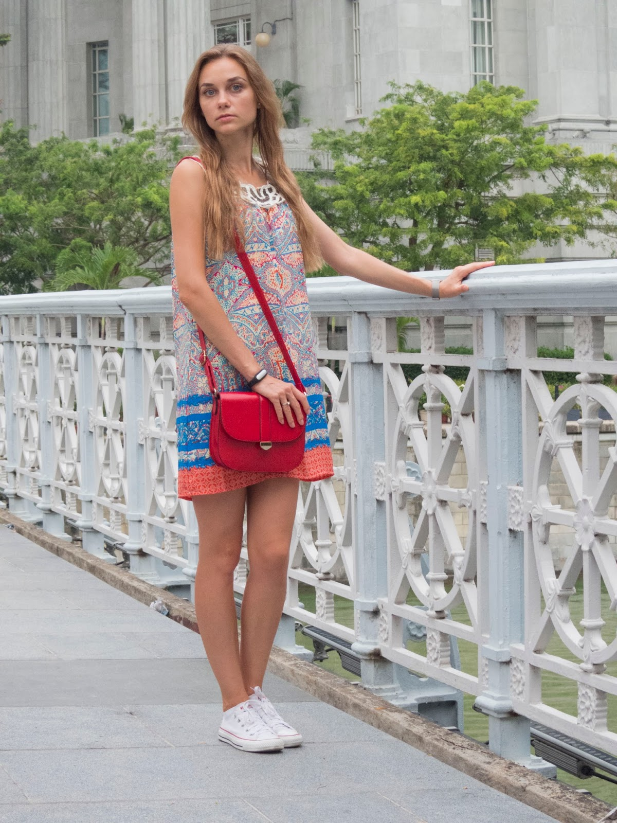 LookOn, look, lookbook, outfit, outfits, ootd, wiw, wiwt, style, fashion, fashion blog, fashion blogger, inspiration, dress with bead-embellished neckline, sneakers, bag, wiw, streetstyle, fashionblogger, styleblogger, summer outfit