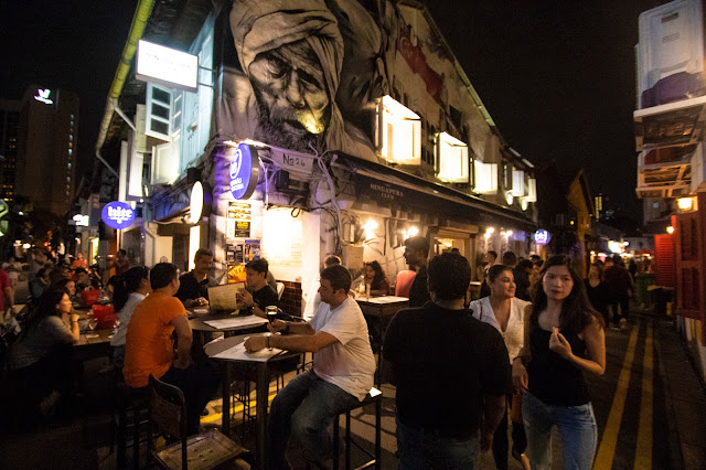 Quartiere arabo di notte-Singapore