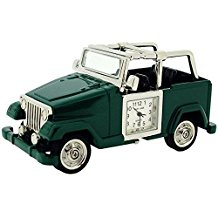 Park Lane Silver Tone Green Safari Jeep Collectors Novelty Clock PLCLK153