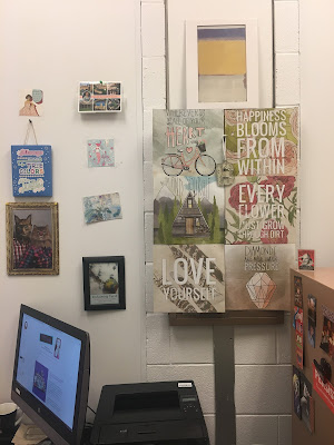 using old calendar pages to decorate the office on a budget