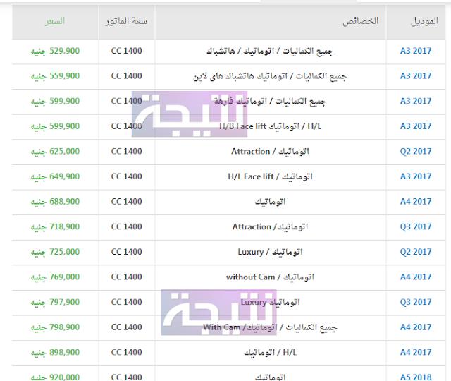 أسعار سيارات اودي 2018 في مصر