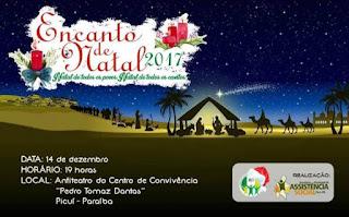 Prefeitura de Picuí realizará 'Encanto de Natal' dia 14 de dezembro