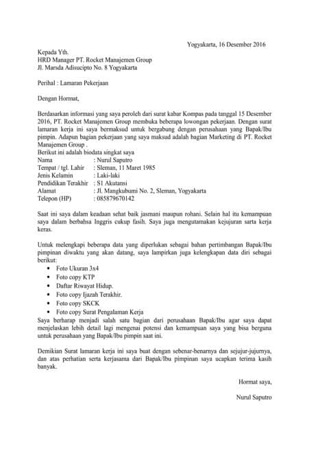 Contoh Surat Lamaran Kerja Paket Internet