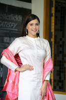 Mannara Chopra in Silky White Salwar Suit with Pink Chunni Latest Exclusive Pics March 2017 ~  047.JPG