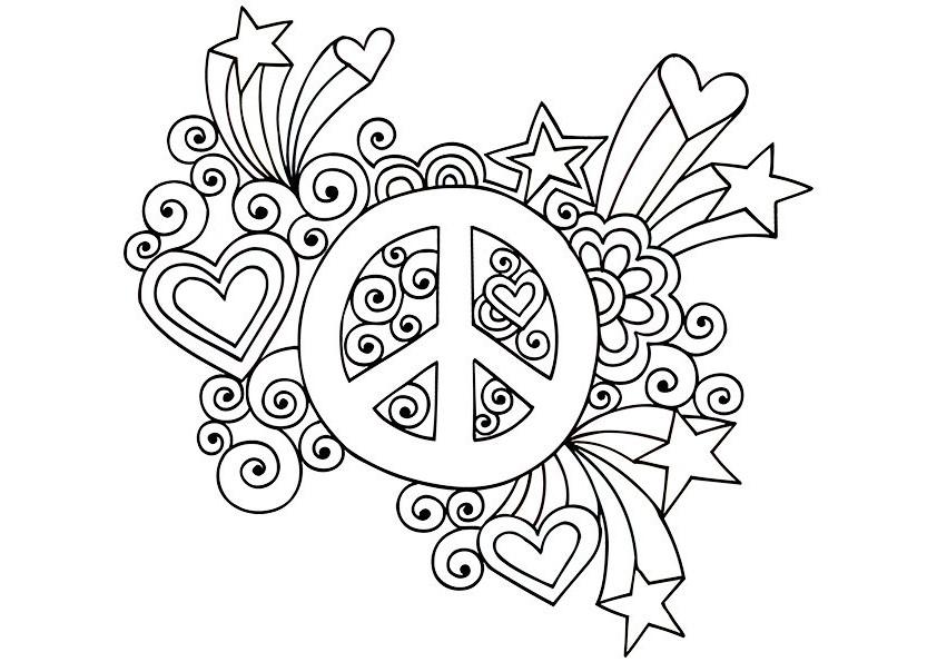 Coloriage Peace And Love Imprimable Coloriages En Ligne