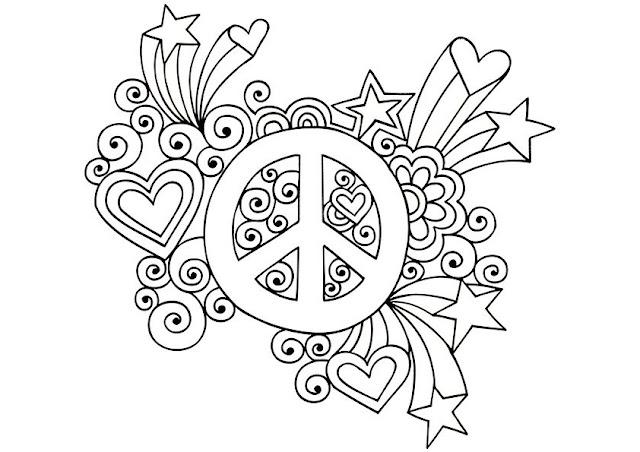 coloriage peace and love avec étoiles et coeurs
