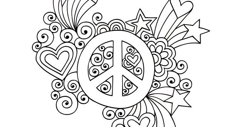 Dessins et coloriages page de coloriage grand format imprimer symbole du peace and love - Coloriage grand format ...
