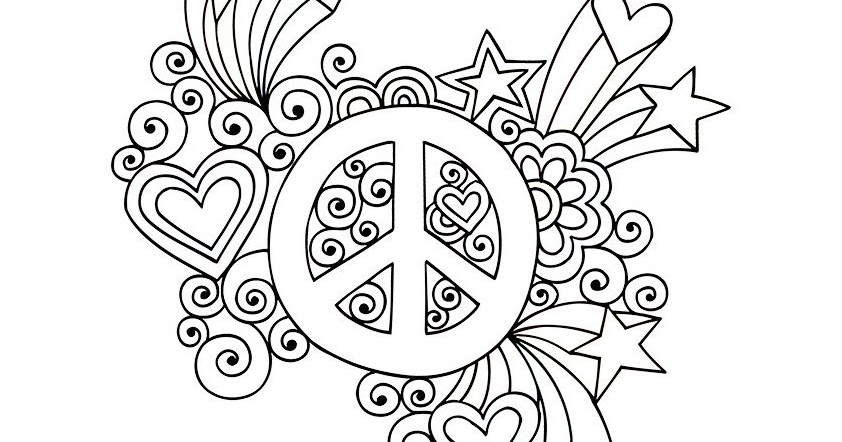 Dessins Et Coloriages: Page De Coloriage Grand Format à Imprimer : Symbole Du Peace And Love