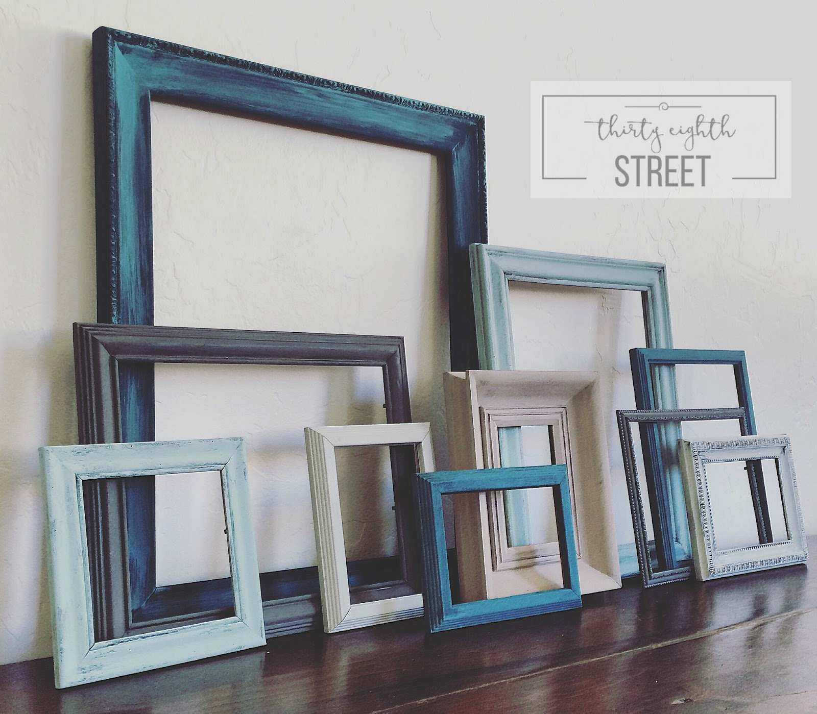 Diy painted thrift store picture frames thirty eighth street design a gallery wall how to paint picture frames how to dry brush metallic jeuxipadfo Choice Image