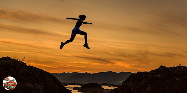 """Featured in the article: """"A Short Guide To Accomplish Your Most Difficult Goals"""".  Involvement, commitment, goals, full, woman, jumping, reaching goals."""