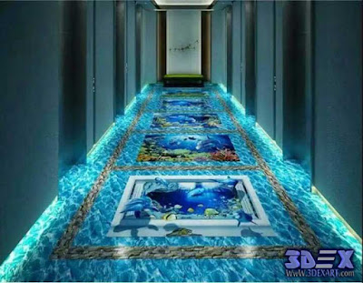 3d flooring for hallway, beach floor mural, 3d epoxy floor designs