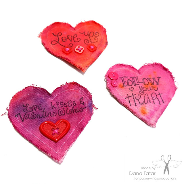 Stamped Canvas Heart Valentines by Dana Tatar for Paper Wings Productions