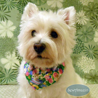 Easter Bunnies and Pink Tulips Dog Bandana