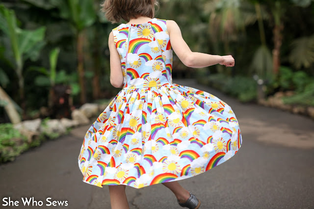 Rainbow and sun girls dress