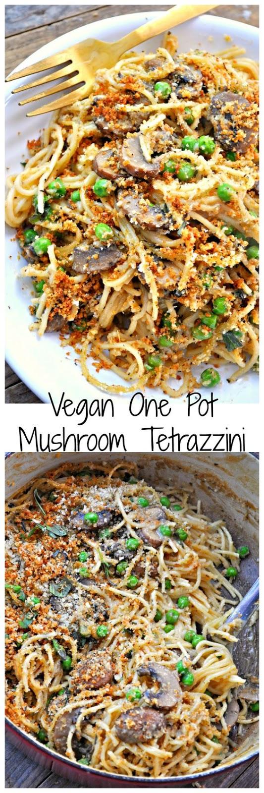 Vegan One Pot Mushroom Tetrazzini #vegan #mushroom #tetrazzini #pasta #pastarecipes #easypastarecipes