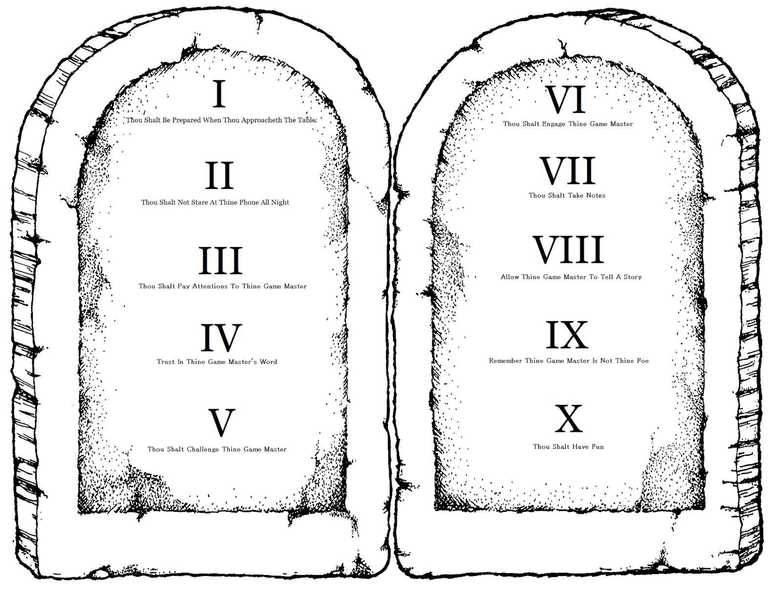 Player Advice: The Players' Ten Commandments