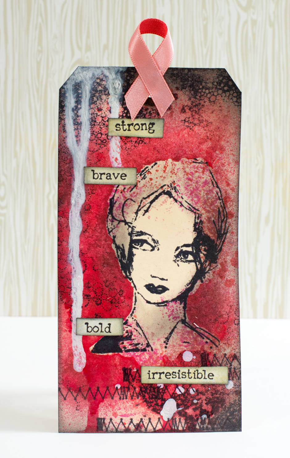 Cardmaking: Tag with a pink ribbon