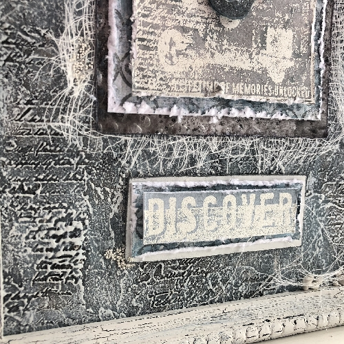 Vintage Neutrals altered picture frame for PaperArtsy with Seth Apter stamps - by Nikki Acton