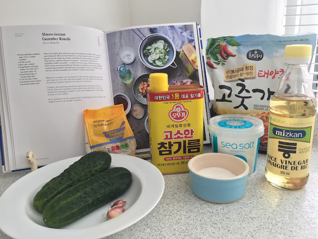 ingredients for instant cucumber kimchi