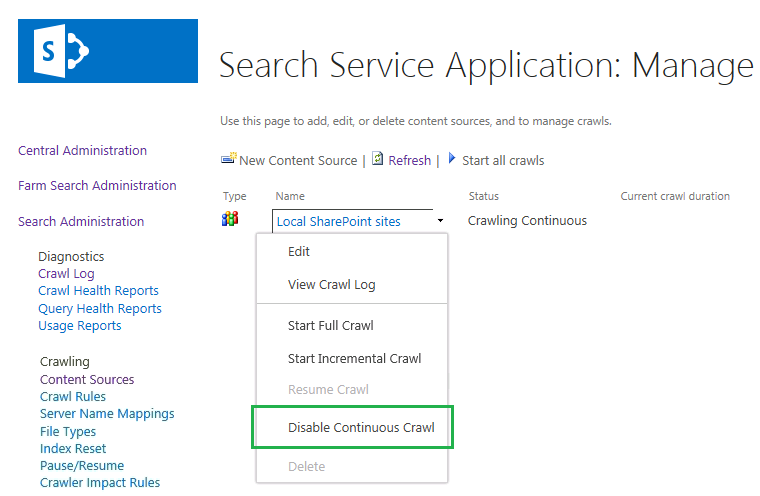 sharepoint 2013 disable continuous crawl powershell