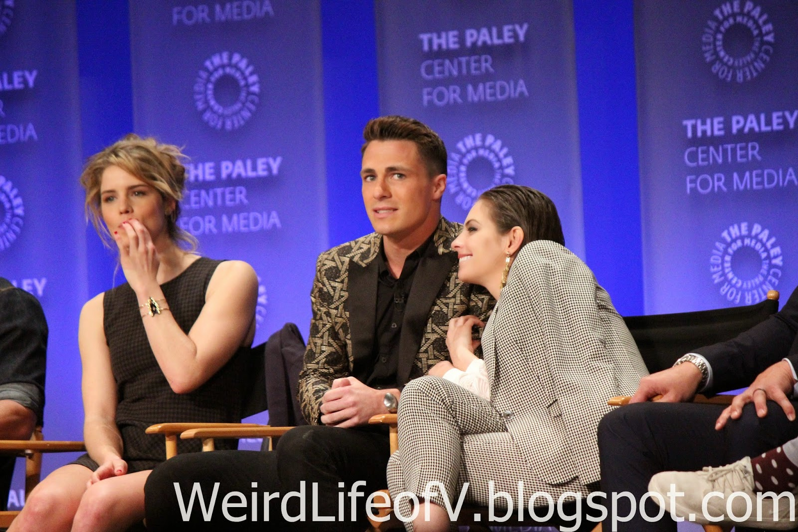Emily Bett Rickards, Colton Haynes, and Willa Holland