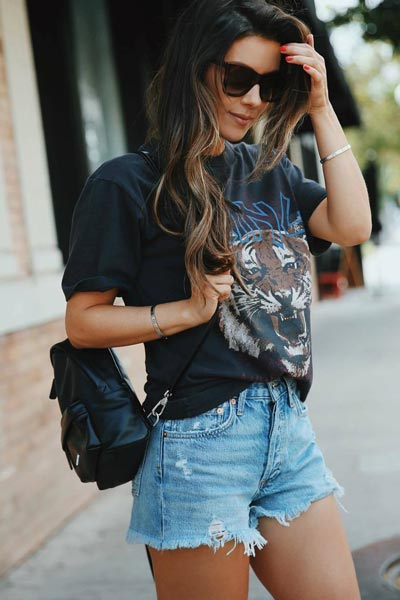 30 Trendy Fall Clothing Ideas for Every Day of Month | Tiger Tee+ Shorts+ Marc Jacobs Double Backpack