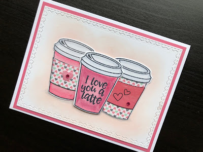 Love you a latte, hand made Valentine card with stamped and die cut coffee cups