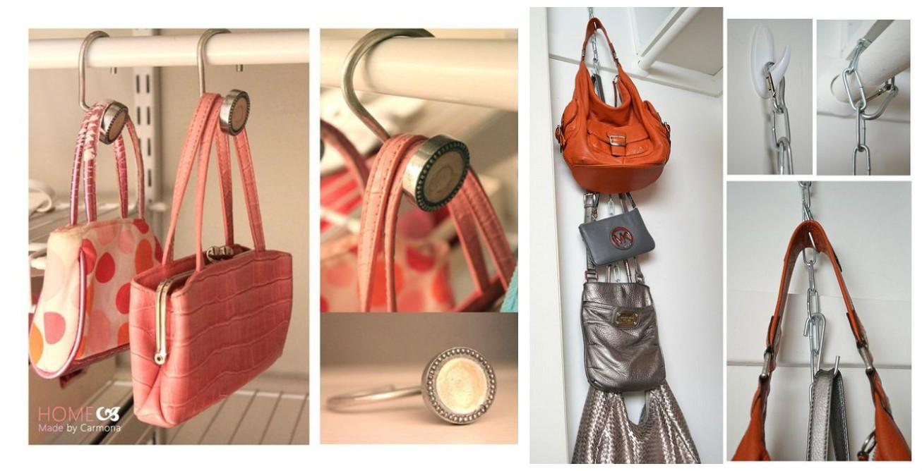 10 maneras ingeniosas de c mo organizar bolsos y carteras for Percheros para bolsos