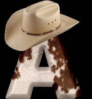 Abecedario Piel de Vaca y Sombrero de Cowboy. Alphabet with Cowboy Hat.