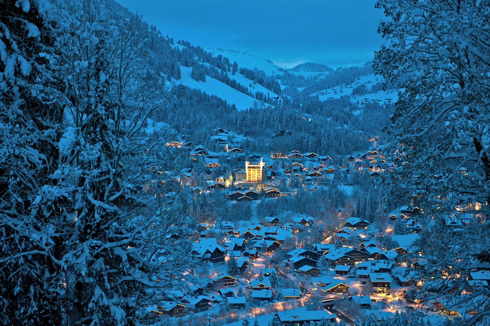 View of Gstaad from high atop the Eggli. Photo: Gstaad Palace.