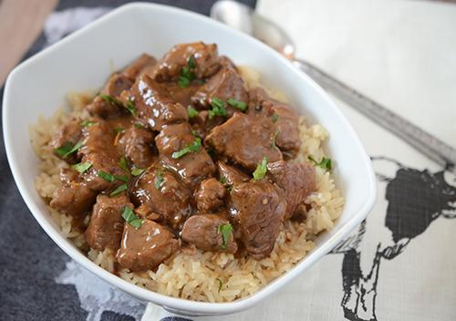 Certified Angus Beef tenderloin tips with rice.