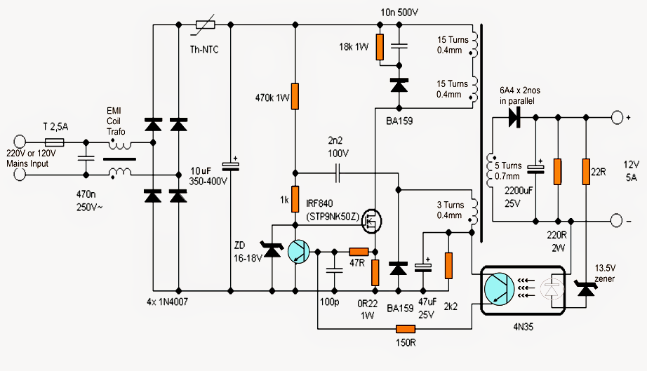 charger using flyback converter circuit electronic circuit projects