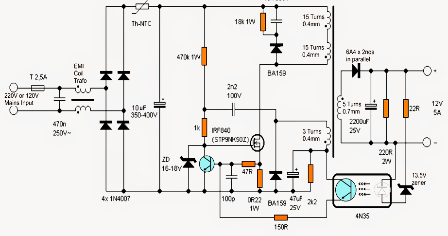 power supply no transformer using ic and mosfet amp circuit diagram
