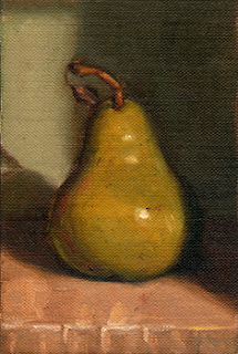 Oil painting of a green pear in front of a green background.