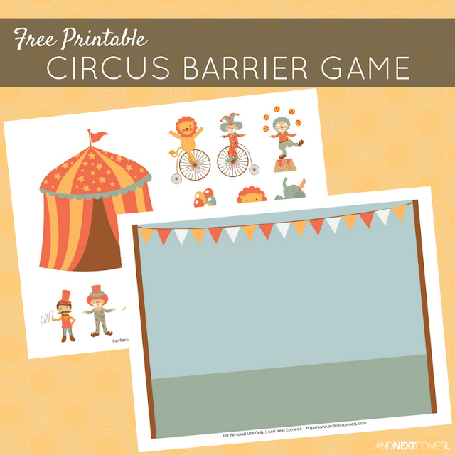 Free printable circus themed barrier game for speech therapy from And Next Comes L