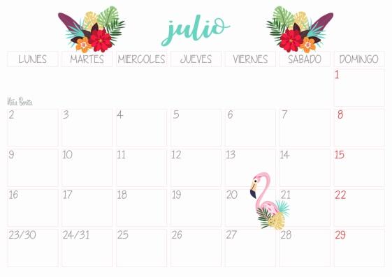 Julio Calendario.Imprimible Calendario Julio 2018 Nina Bonita