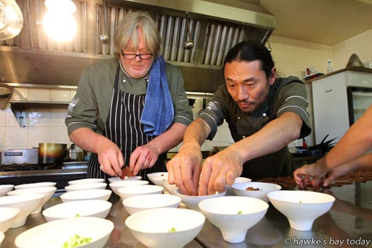 "L-R: Kent Baddeley, Masanori Takahashi, chefs at 1024 Restaurant in Hastings. Foodies savoured ""Heavenly good wines and hellishly good food"" at Hawke's Bay's Winter F.A.W.C! Food and Wine Classic. photograph"