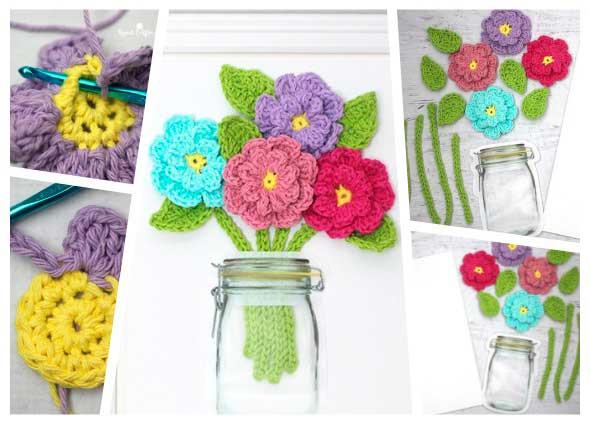 cuadro con flores de crochet o ganchillo, manualidades,