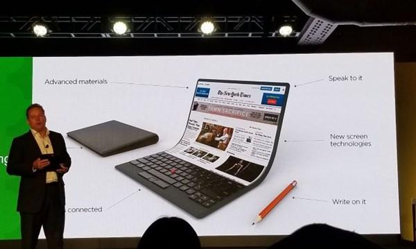 Lenovo gợi ý về mẫu laptop màn hình cong, không bản lề