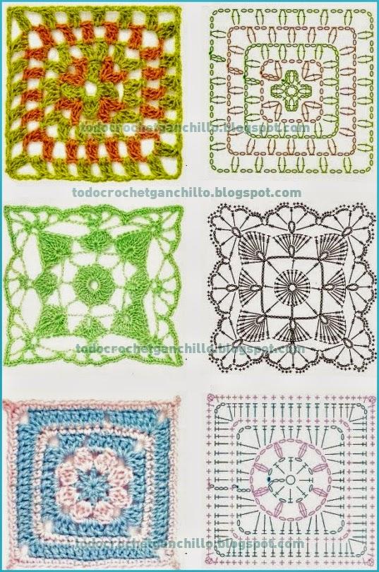 10 patrones de grannys tejidos al crochet / cuadros / squares | Todo ...