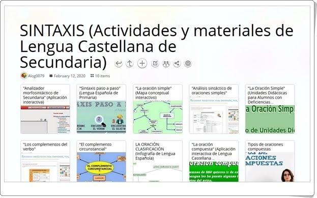 10 actividades y materiales sobre SINTAXIS de Lengua Castellana de Secundaria